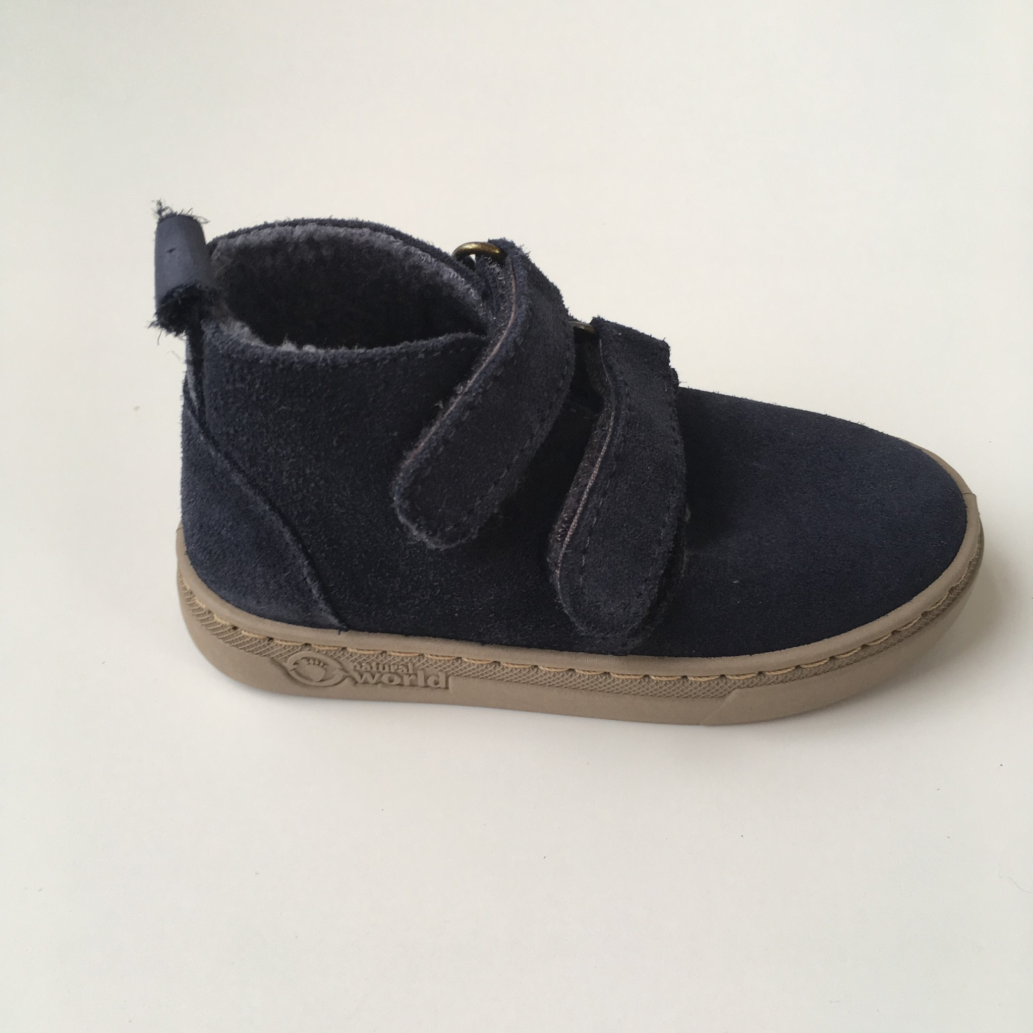 NATURAL WORLD suede ankle boot velcro - wool lined ALAIR - 100% natural rubber sole - blue - 25 to 38