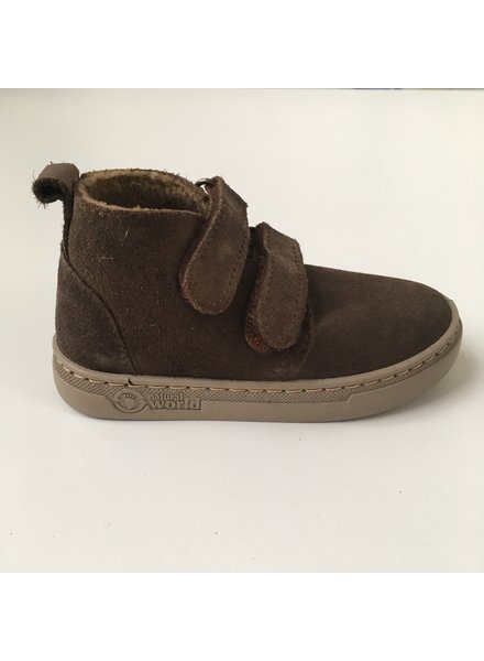 NATURAL WORLD suede ankle boot velcro - wool lined ALAIR - 100% natural rubber sole - brown - 25 to 38