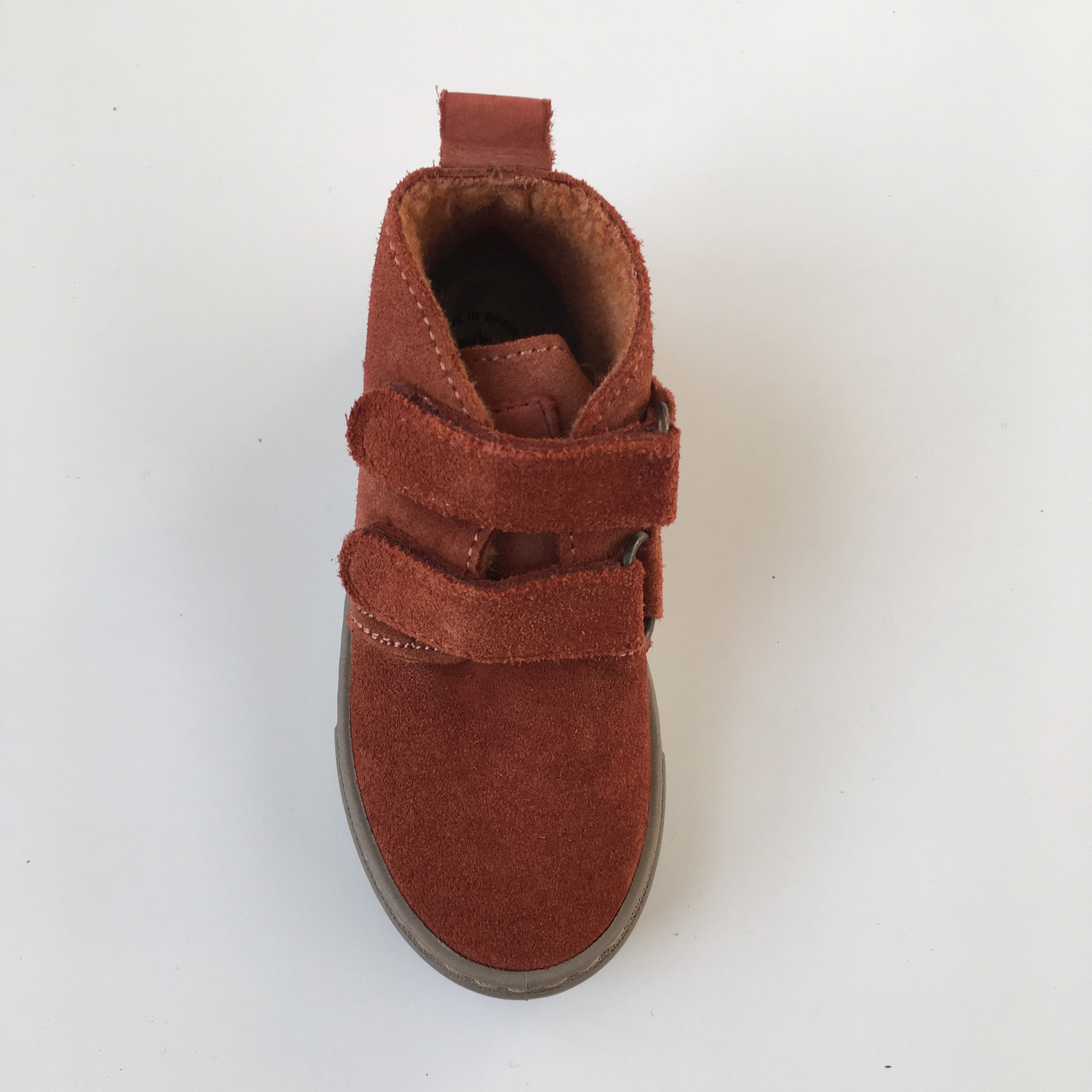 NATURAL WORLD suede ankle boot velcro - wool lined ALAIR - 100% natural rubber sole - rusty orange - 25 to 38