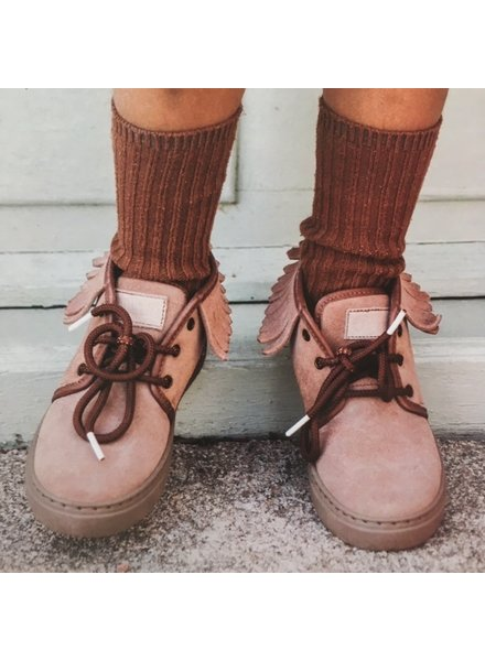 NATURAL WORLD suede ankle boot fringes ELINA - wool lined / 100% natural rubber sole - pink - 25 to 38