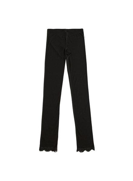 JOHA wool / silk ladies legging with lace -70% merino wool / 30% silk - black - S to XXL