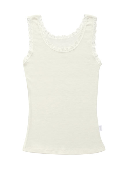 JOHA woolen women's tanktop with lace - 100% merino wool -natural white - S to XXL