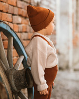 Silly Silas warm winter tights with braces - 78% organic cotton - cinnamon