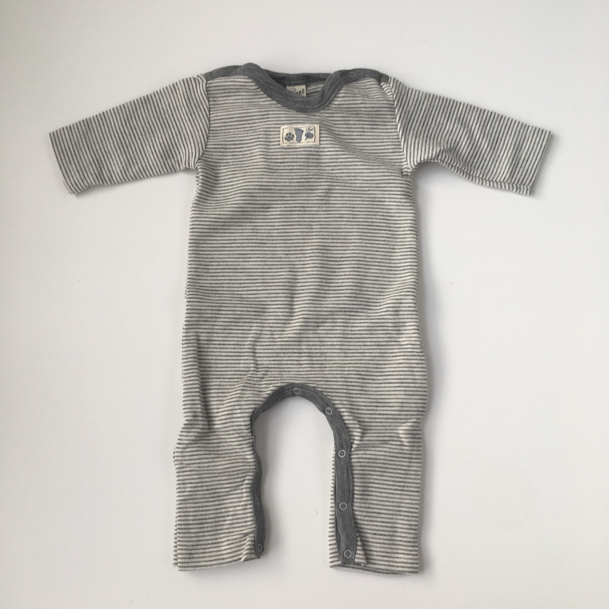 Lilano  wool silk baby suit / sleeping suit with fold-over feet - 70% organic merino wool / 30% silk - white gray striped - 50 to 98