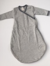 Lilano  wool silk baby sleeping bag - 70% organic merino wool / 30% silk - white gray striped - 50 to 68