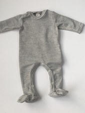 Lilano  wool silk newborn suit with feet - 70% organic merino wool / 30% silk - white gray striped - 50 to 56