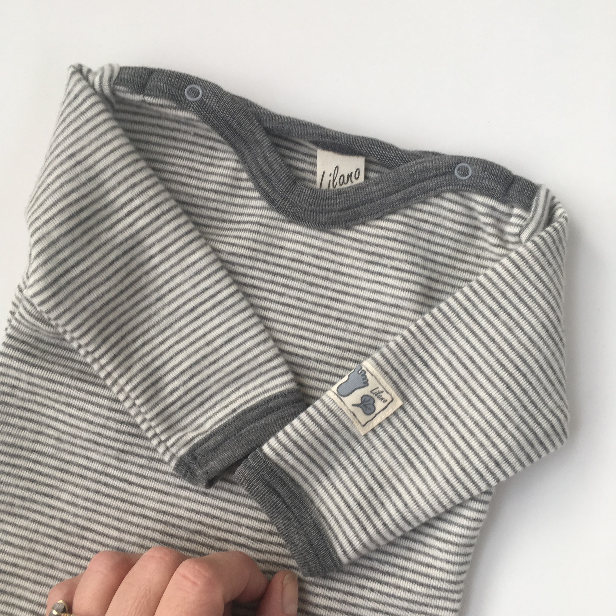 Lilano  wool silk shirt with long sleeves - 70% organic merino wool / 30% silk - white gray striped - 56 to 104