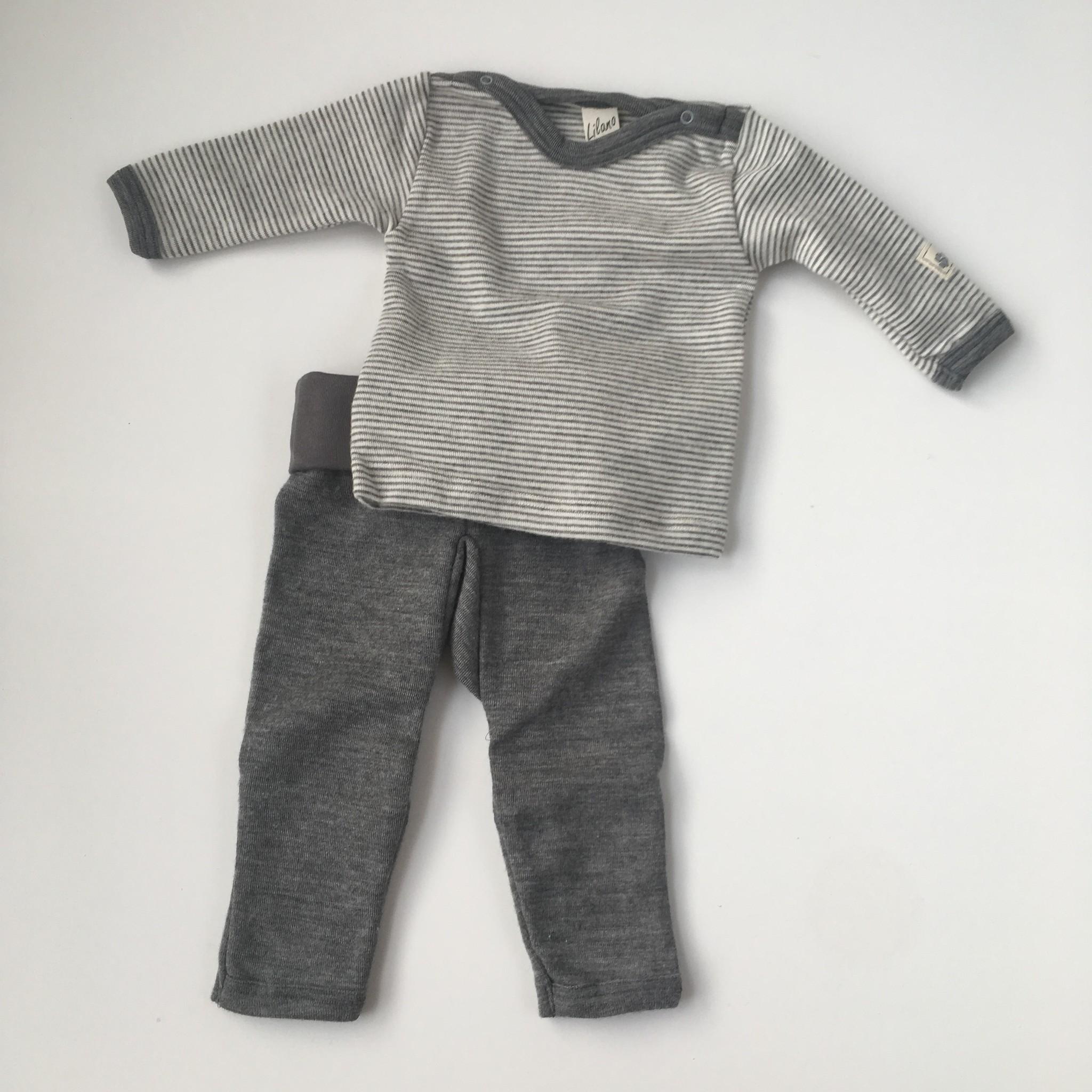 Lilano  wol zijde broekje - 70% biologische merino wol / 30% zijde - grijs - 56 tm 86