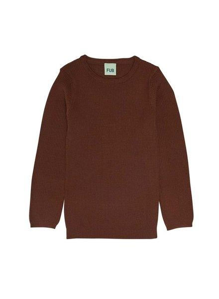 FUB wool shirt - finely knitted 100% merino - brown - 80 to 130