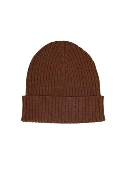 FUB wool beanie - thick rib - 100% merino - brown - 80 to 150