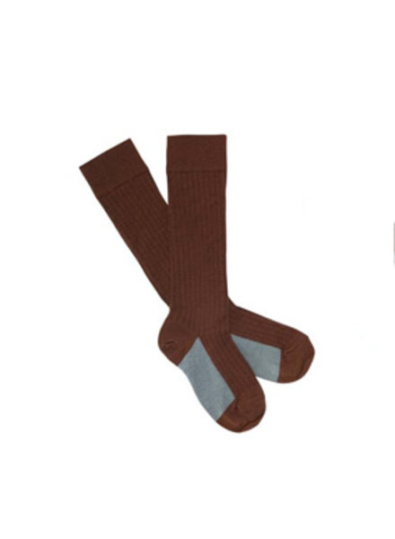 FUB woolen knee socks with rib - 80% merino wool finely knitted - brown - 19 to 42