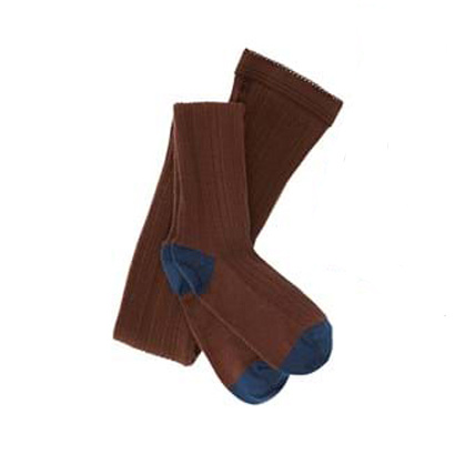 FUB wool tights with rib - 80% merino wool - umber brown - 70 to 130