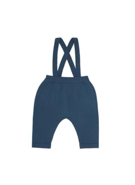 FUB woolen baby pants with suspenders - 100% merino wool - petrol blue - 56 to 92