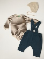 FUB wollen baby broekje met bretels - 100% merino wol - petrol blauw - 56 tm 92