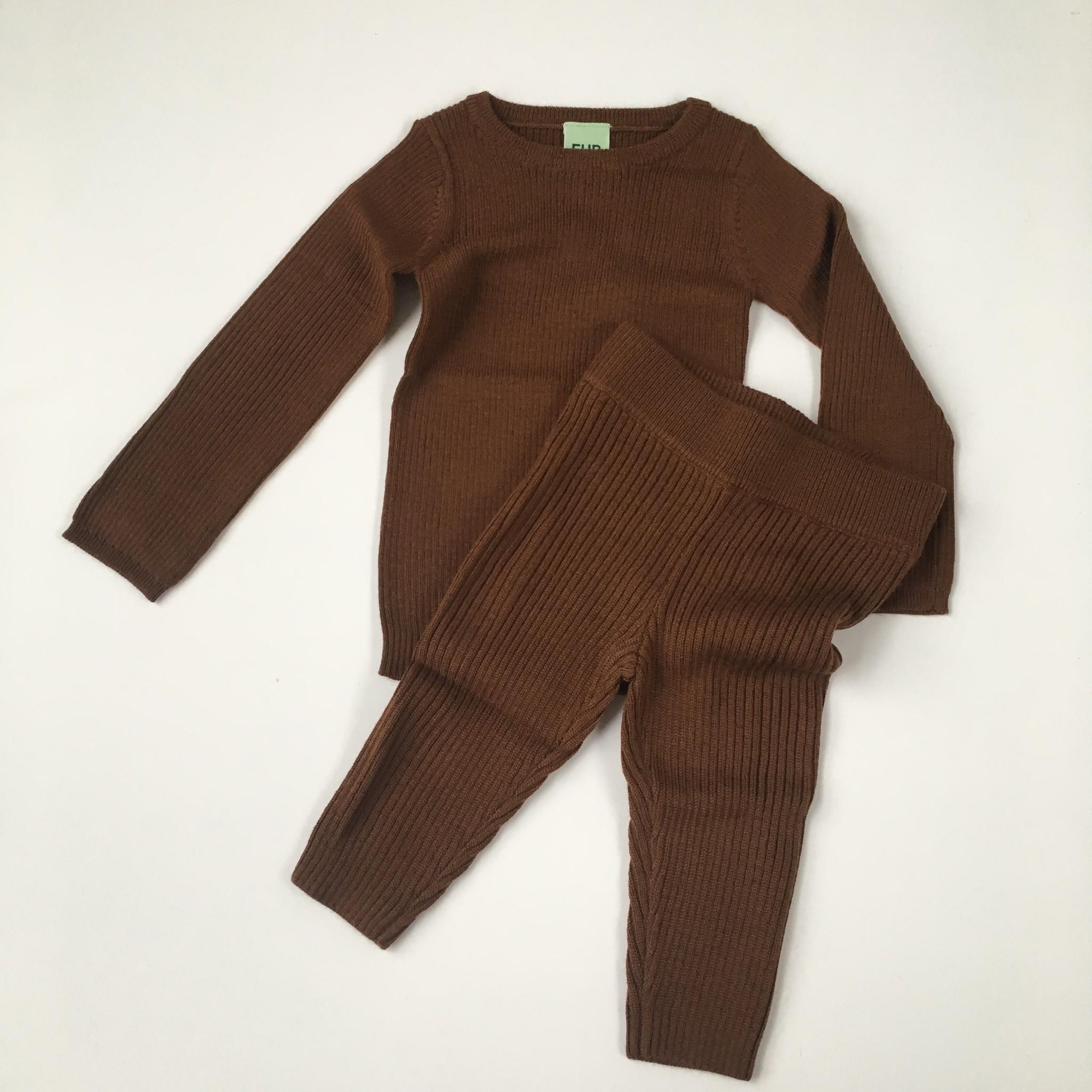 FUB wollen baby legging - fijngebreid 100% merino - umber bruin - 56 tm 80