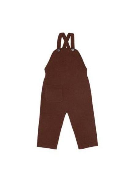 FUB gekookte wollen baby overalls - 100% merino wol - umber buin - 56 tm 92