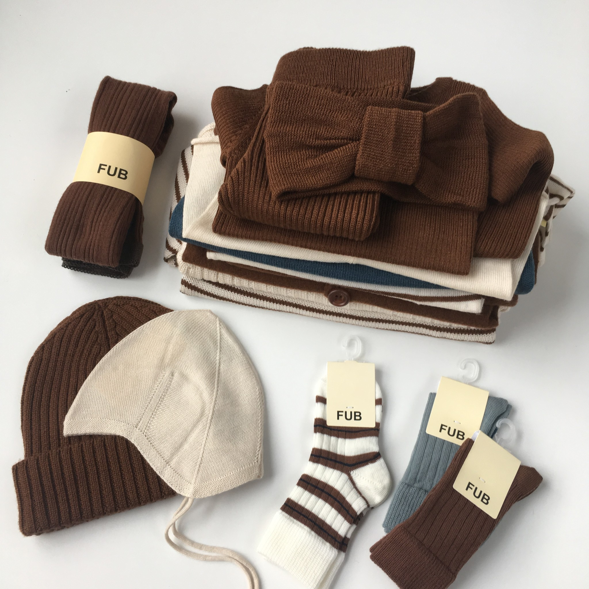 FUB boiled wool baby overalls - 100% merino wool - umber brown - 56 to 92