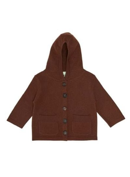 FUB boiled wool baby jacket - 100% merino wool - umber brown - 56 to 92