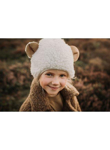 Alwero teddy woolen hat EARSY child - 100% teddy wool - natural white