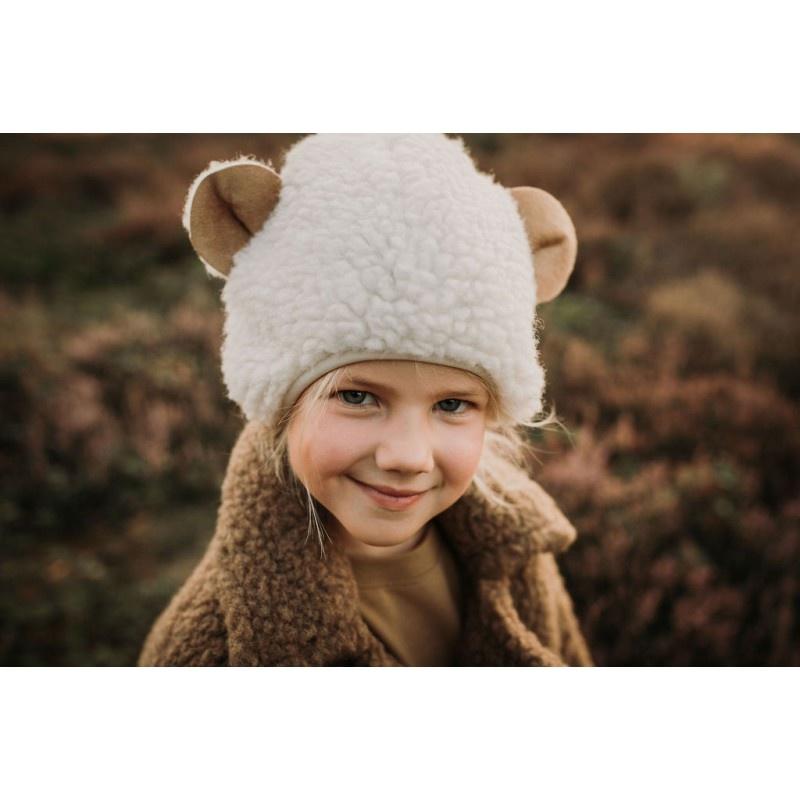 Alwero teddy woolen hat EARSY - 100% teddy wool - natural white