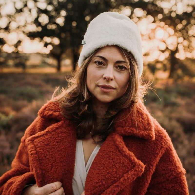 Alwero teddy woolen hat EGG - 100% teddy wool - natural white