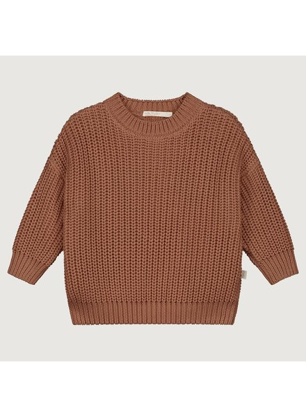 YUKI PRE-ORDER chunky knit rib sweater child - 100% organic cotton - brick