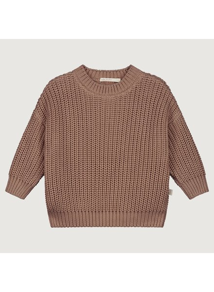YUKI PRE-ORDER chunky knit rib sweater child - 100% organic cotton - taupe mist