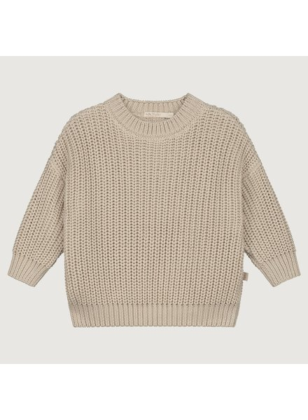 YUKI PRE-ORDER chunky knit rib sweater child - 100% organic cotton - off white moon