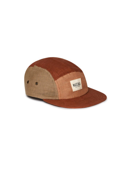 Matona linen cap tricolor - 100% linen - clay/tan/sienna - child and adult