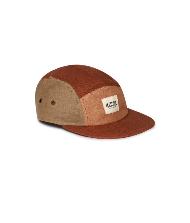 Matona Matona cap tricolor - 100% linen - clay/tan/sienna - child and adult