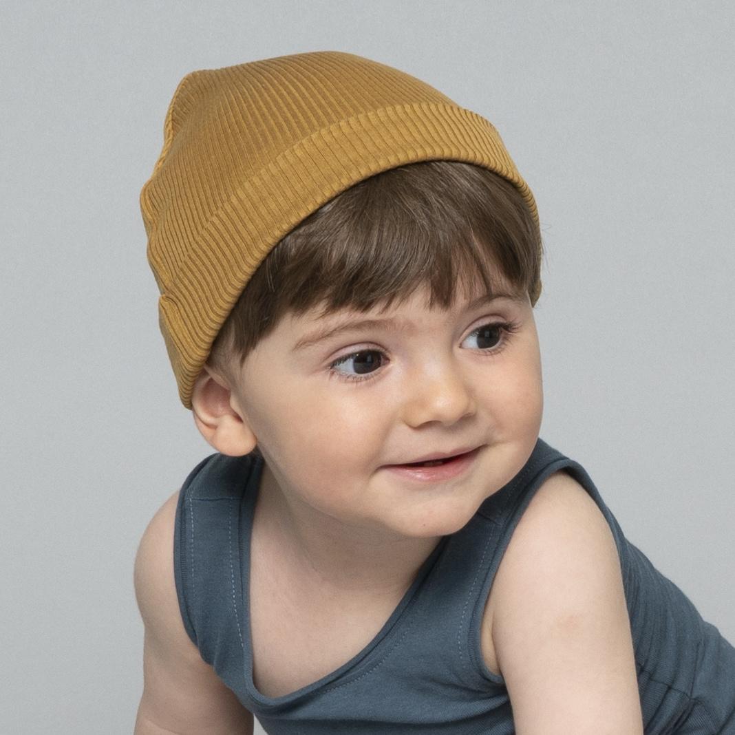 Minimalisma muts/beanie zijde Bambi- fijn rib - 70% zijde - golden leaf - newborn tm 12 jaar