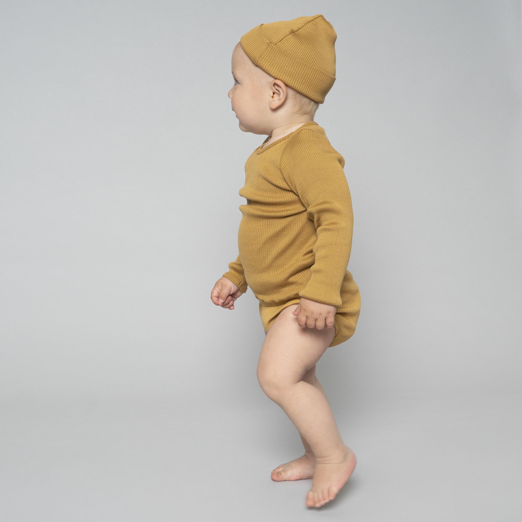 Minimalisma beanie/hat silk  Bambi- fine rib - 70% silk - golden leaf - newborn to 12 Y