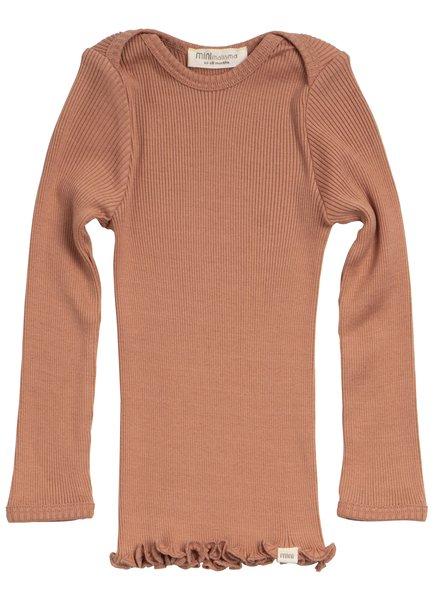 Minimalisma long-sleeve baby shirt silk BELFAST - fine rib - 70% silk -tan -  0 to 24 months