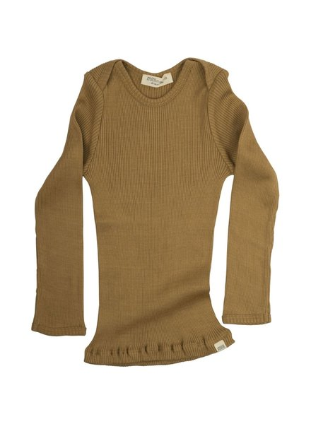 Minimalisma long-sleeve baby shirt silk BELFAST - fine rib - 70% silk - golden leaf -  0 to 24 months
