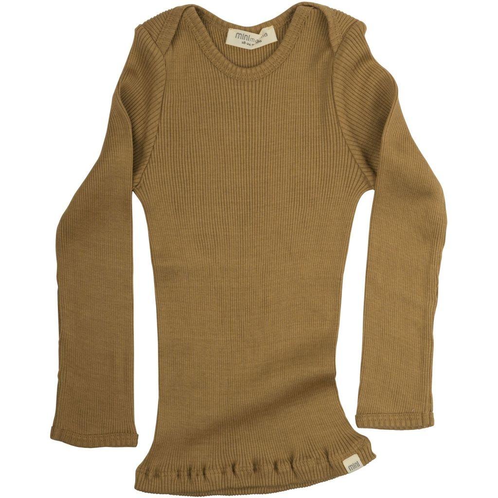 Minimalisma zijden baby shirt BELFAST - fijne rib - 70% zijde - golden leaf - 0 tm 24 maanden