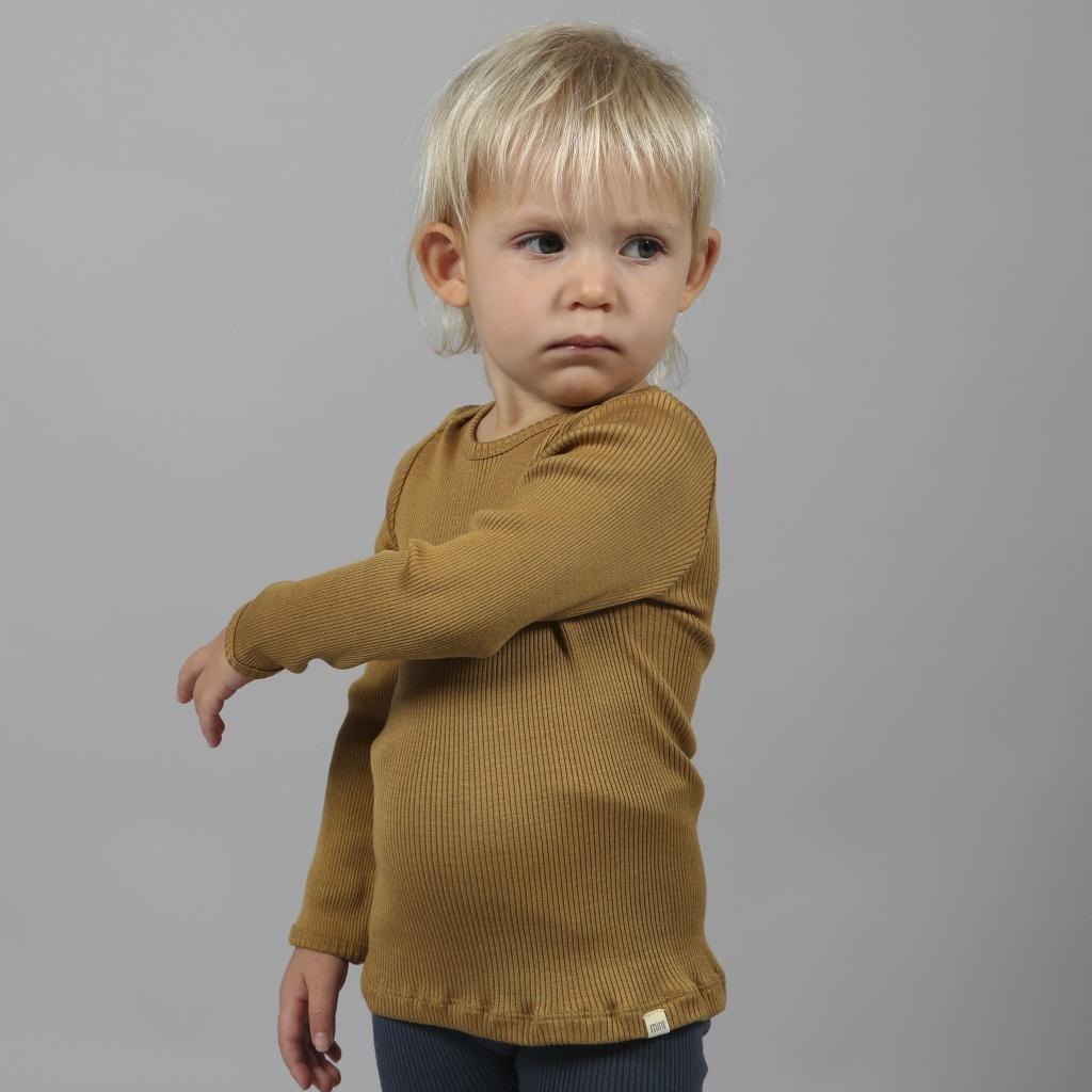 Minimalisma  long-sleeve baby shirt silk BELFAST - fine rib - 70% silk - golden leaf -  0 to 24 months