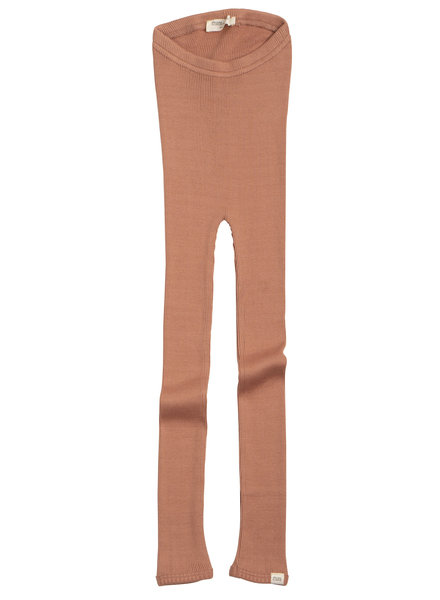 Minimalisma Bieber silk leggings - fine rib - 70% silk - tan - 1m to 14y