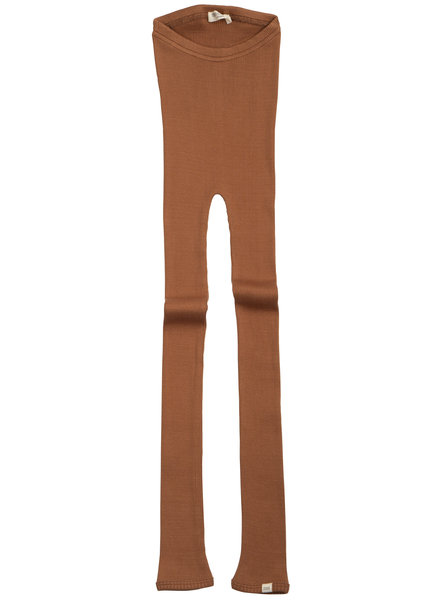 Minimalisma BIEBER silk leggings  - fine rib - 70% silk - rooibos - 1m to 14 years