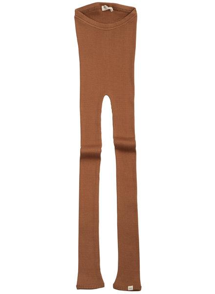Minimalisma zijden legging BIEBER - fijne rib - 70% zijde -  rooibos -1m tm 14 jaar