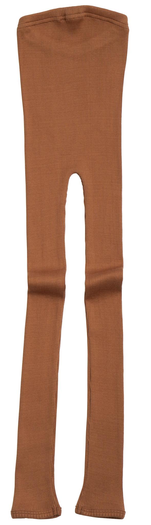 Minimalisma zijden legging BIEBER - fijne rib - 70% zijde - rooibos - 1m tm 14 jaar
