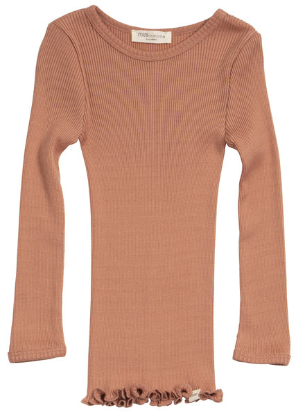 Minimalisma silk BERGEN long-sleeve shirt - fine rib - 70% silk - tan -  2 to 14y