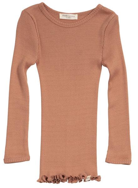 Minimalisma zijden shirt BERGEN - fijne rib - 70% zijde - tan - 2 tm 14 jaar