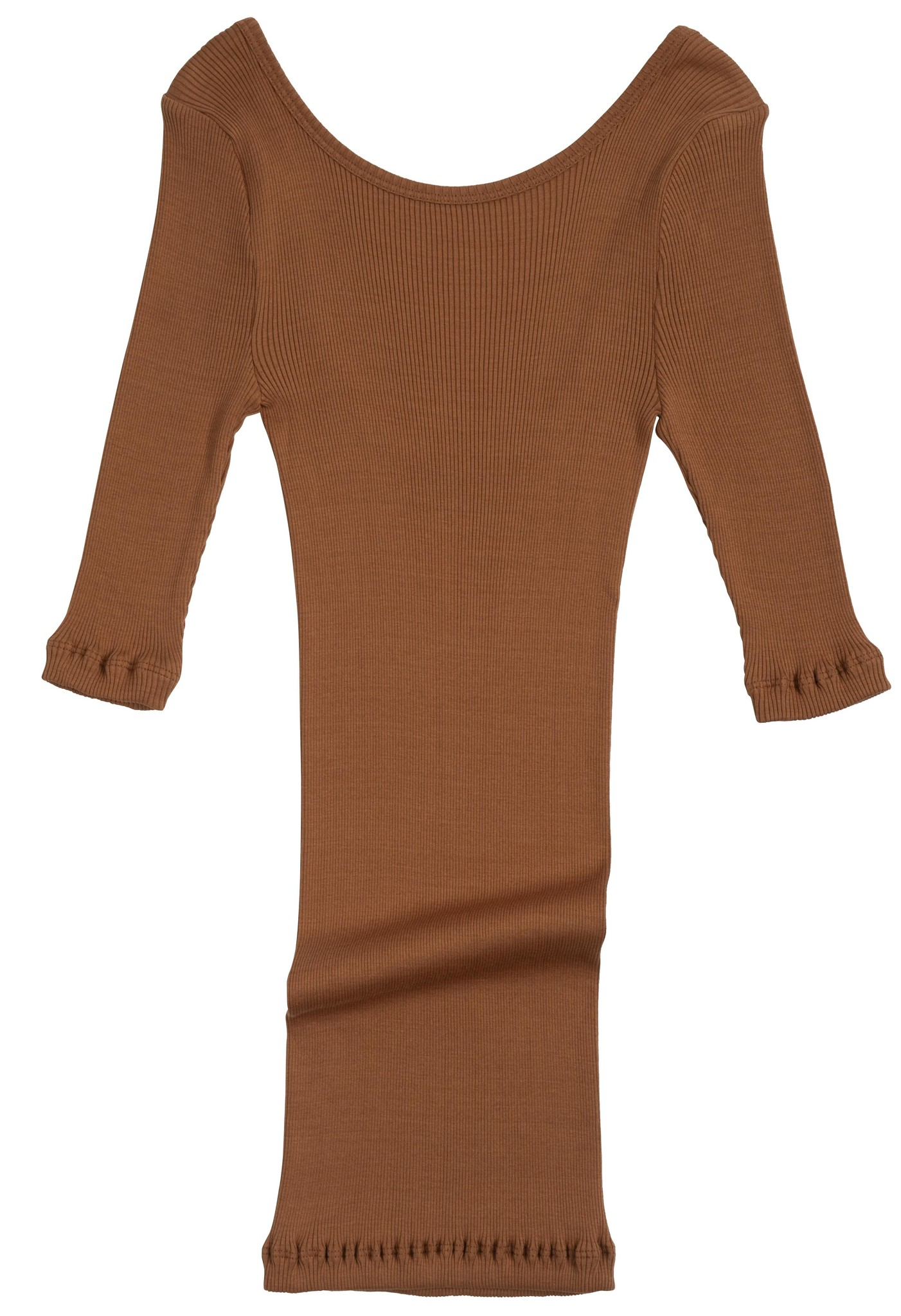 Minimalisma women's shirt GYM 3/4 sleeves and low back - fine rib - 70% silk - rooibos - S/M and M/L
