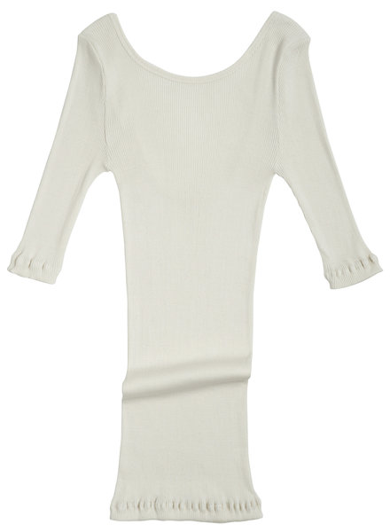 Minimalisma women's shirt GYM 3/4 sleeves and low back - fine rib - 70% silk - cream - S/M and M/L