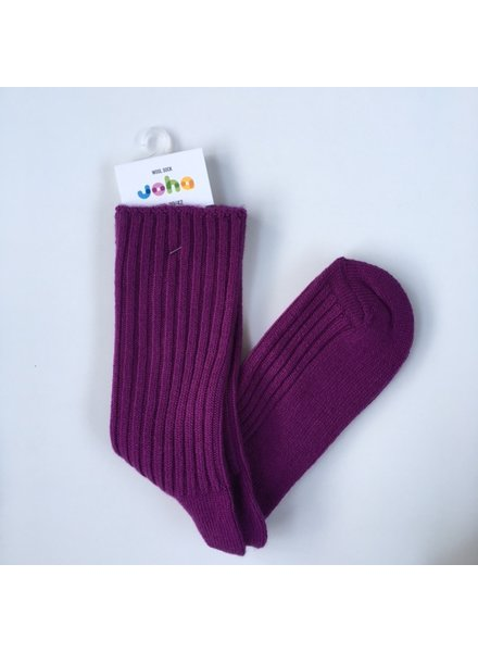 JOHA thick woolen socks - 90% merino - purple - baby to 42