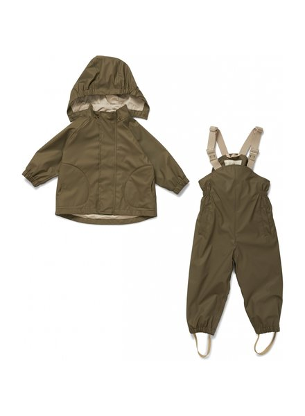 Konges Slojd rainwear set PALME - 100% PU / 100% Oekotex cotton - olive - 2 to 8 y