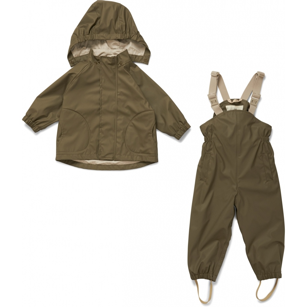 Konges Slojd rainwear set PALME - 100%  PE / 100% Oekotex cotton - olive - 2 to 8 y