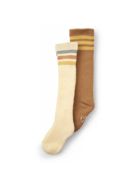 Konges Slojd 2 pairs of socks / knee highs - 75% organic cotton  - brown / off white - size 19 to 38