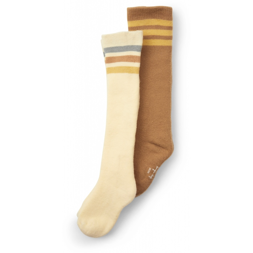 Konges Slojd 2 pairs of socks / knee highs - 75% organic cotton - brown off white - size 19 to 38