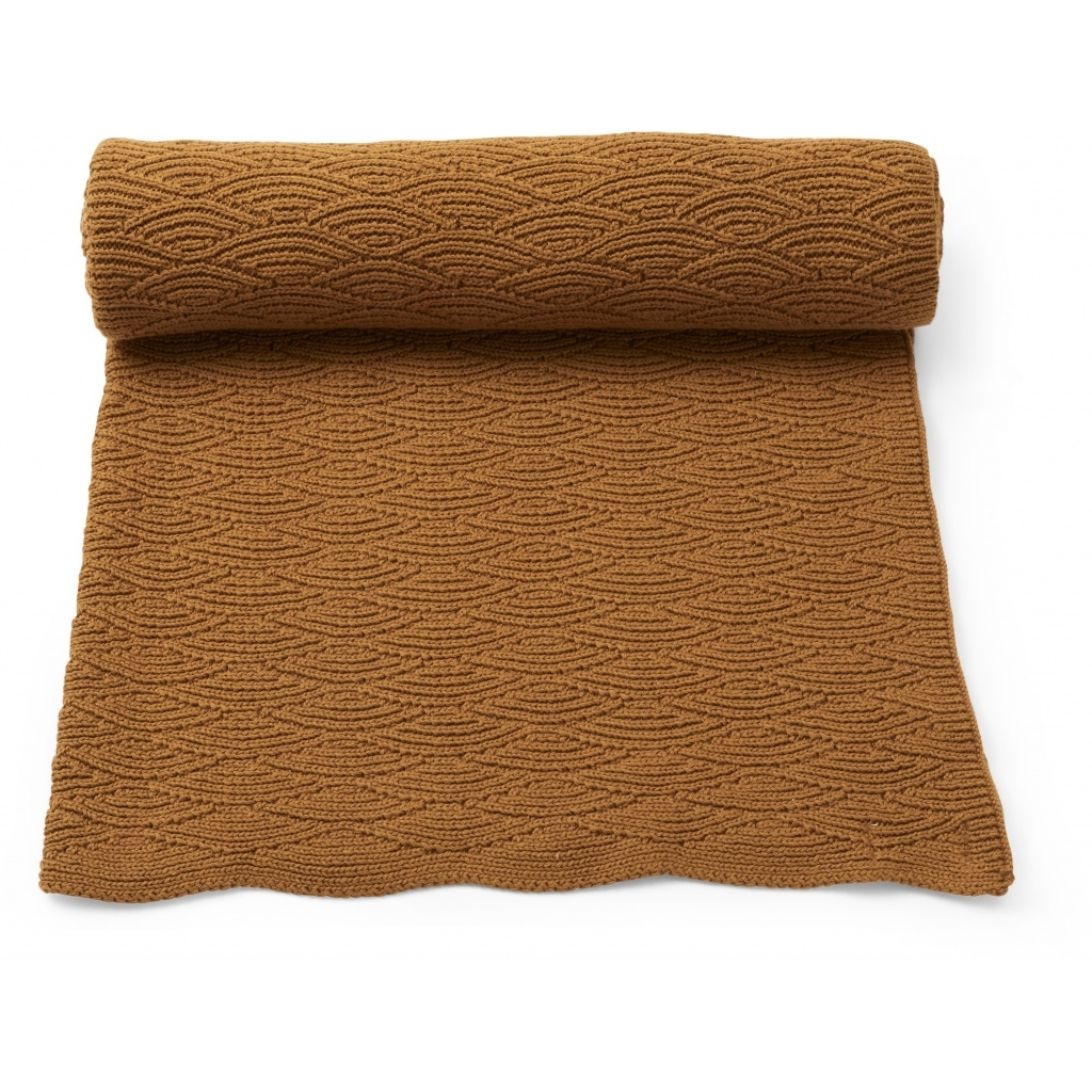 Konges Slojd baby- and children's blanket POINTELLE- 100% organic cotton - cinnamon brown - one size / 100 x 70 cm - Copy